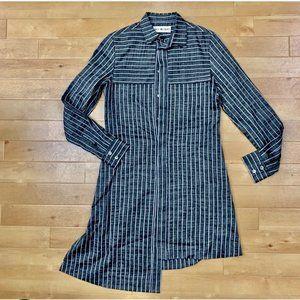 Issey Miyake Split Hem Striped Shirtdress